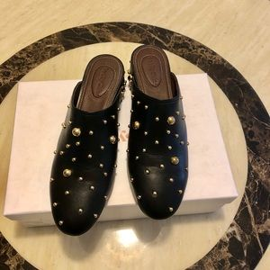 New SEE BY CHLOE Abby Studded Leather Mules 7.5